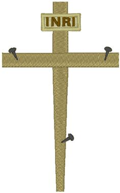 The Empty Cross Embroidery Design. Christians express different feelings to crucifixes and crosses, and can have a preferred way of remembering that moment in time.  Some like to think of Him still on the cross (reminding us what the price for our sin was), and some like to see an empty cross to remember that Jesus has arisen from the dead, and that He is now in Heaven preparing to raise all dead for Judgment Day and the Kingdom.  This ancient symbol is of European origin.