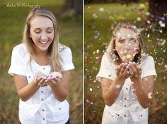 Senior Photo idea; blowing glitter; confetti
