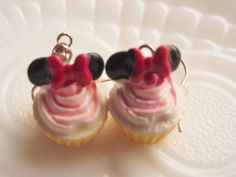 Minnie Mouse CUPCAKE EarringsKid's by CedarCoveCreations on Etsy