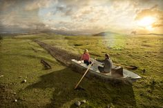 """Groundbreaking (2012): """"I was curious how a landscape might behave like water. The couple in the rowboat is my simple way of conveying that ..."""