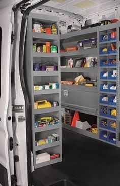 Our heavy-duty Shelf Tower for High Roof Vans mounts to the end of any of our shelving units or in any other unused floor space in your van. These units are available with 9 shelves for plenty of storage. Units have an exceptionally small footprint of Printer Storage, Van Storage, Truck Storage, Tool Storage, Locker Storage, Trailer Storage, Storage Units, Storage Ideas, Van Shelving