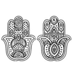Indian hand drawn hamsa with ornaments vector on VectorStock