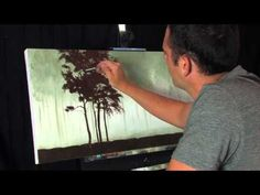 Time Lapse Acrylic Landscape Forest Painting Missing Red Trees by Tim Gagnon - YouTube