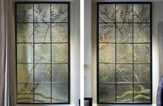 Verre Eglomise Dining Room Chester sq London. Two of four Verre Eglomise Panels, Japanese bird & blossom trees. Reverse painting & gilding on glass by Timna Woollard Studio