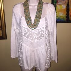 White boho shirt with sheer inserts American eagle American Eagle Outfitters Tops Blouses