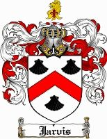Jarvis Family Crest English Coat of Arms. Unless I am descended from royalty I believe this image to be incorrect. The face on, barred helm indicates a royal position. The more likely helm would be a profile view of a closed face design.