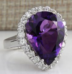 ESTATE 10.56CTW NATURAL AMETHYST AND DIAMOND RING IN 14K SOLID WHITE GOLD #Cocktail