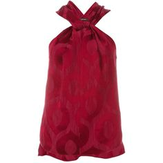 Isabel Marant jacquard halter-neck tank ($390) ❤ liked on Polyvore featuring tops, red, sleeveless halter top, red top, sleeveless tank, red sleeveless top and halter neck tank top