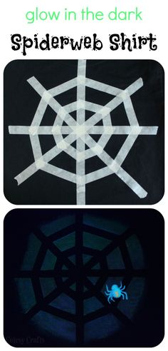 Glow in the Dark Spiderweb Shirt - Made using masking tape and glow paint. #TulipGlow