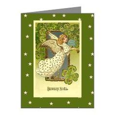 Red and white reindeer business christmas card white reindeer irish christmas angel note cards pk of 10 reheart Image collections
