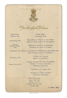 "We know what King Edward VII was eating in June 1902 thanks to the Jockey Club Dinner Menu that resides the University of Nevada's Special Collection ""The Art o Vintage Menu, Vintage Recipes, Vintage Food, Victorian Recipes, Retro Recipes, Wedding Vintage, Apple Pecan Pie, Chateau Latour, Menu Printing"