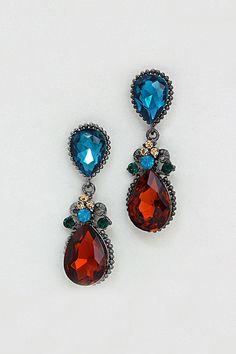 Crystal Delphine Earrings in Sapphire on Umber