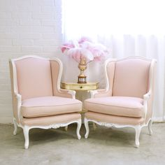 Shabby Cottage Chic Pair of Mauve Linen Wingback Armchairs French Vintage Style #TheBellaCottage #Cottage
