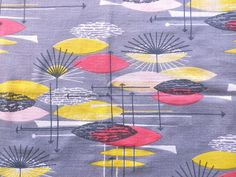 Vintage 1950's Grey Atomic Cotton Barkcloth Fabric Lucienne Day or Marian Mahler in Collectables, Sewing/ Fabric/ Textiles, Fabric/ Textiles | eBay