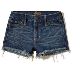 Hollister High Rise Denim Short-Shorts (595 RUB) ❤ liked on Polyvore featuring shorts, short, dark wash, hot short shorts, micro denim shorts, hot shorts, high waisted shorts and high-waisted shorts