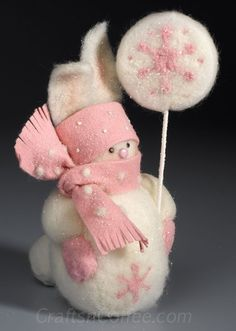 How to make a needle felted snow bunny snowman craft. CraftsnCoffee.com.