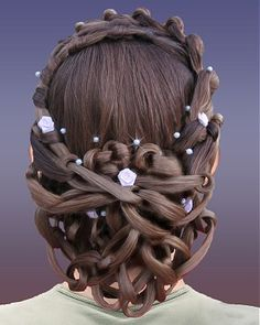 A long brown straight sculptured updo jewellry wedding bridal hairstyle by Exquisitely Done