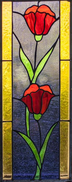 Tulips. Stained Glass Panel 8 x 18 inches. Laurel Sheridan