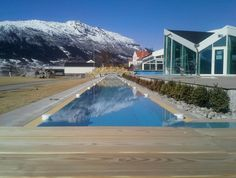 Longest outdoor all-year swimming pool in Europe. 88 meters long at www.hotel-ullensvang.no in Hardangerfjord, Norway.