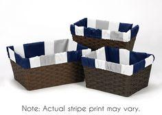 Gray & Navy Blue Stripe Organizer Storage Basket Liners Fits Small Medium Large Bin