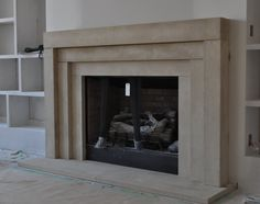 Cast Stone Fireplace mantel Contemporary Modern Traditional style custom made Limestone Mantel Modern Stone Fireplace, Stone Fireplace Surround, Stone Fireplace Mantel, Limestone Fireplace, Concrete Fireplace, Marble Fireplaces, Contemporary Fireplace Designs, Faux Stone Fireplaces, Fireplace Ideas