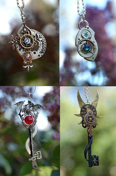 Steampunk Keys by *KeypersCove on deviantART Key Jewelry, Cute Jewelry, Beaded Jewelry, Jewelery, Jewelry Making, Steampunk Design, Steampunk Fashion, Steam Punk Jewelry, Steampunk Accessories