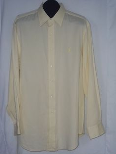 Polo Ralph Lauren Andrew Yellow Button Front Casual Dress Shirt Size: 17.5 34/35 #PoloRalphLauren