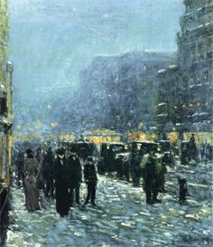 Broadway and 42nd Street Frederick Childe Hassam - 1902 Metropolitan Museum of Art (United States) Painting - oil on canvas Height: 66.04 cm (26 in.), Width: 55.88 cm (22 in.)