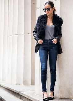 Jamie Chung in an ashley B Shearling Asymmetrical Jacket