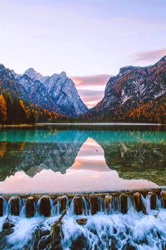 Lake Toblach in Dolomites, Italy