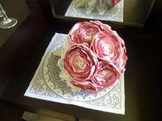 Fabric Flower Bouquet, Bridesmaid Bouquet, Wedding Flowers, Purple, Handmade Flowers, Pearl Center #etsy  #etsymnt