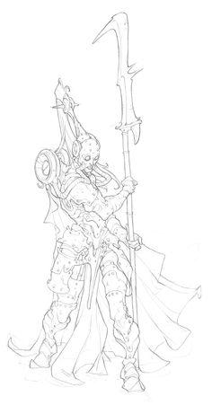 Cool Female Warrior Line Art