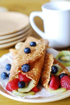 Dessert crepes with ricotta cheese, berries, and kiwi by JuliasAlbum.com, via Flickr