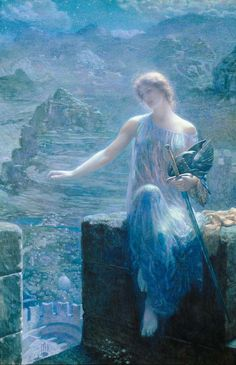 Edward Robert Hughes, The Valkyrie's Vigil, 1906, watercolour and gold paint on whatman paper, 102x74cm, private collection