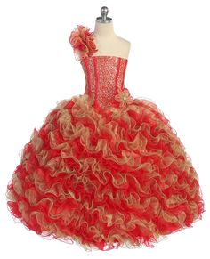red/gold Girls pageant dresses