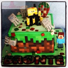 Minecraft cake featuring Steve, Blaze and Ghast from Treat me Sweet
