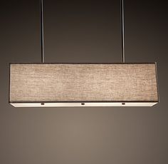 "Rectangular Linen Shade Pendant - but with white shade _ Standard: 44""W x 15""D x 12""H; 29 lbs. - $550"