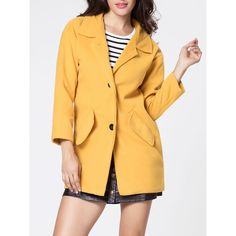 Lapel Single Breasted Flap Pocket Plain Coat ($21) ❤ liked on Polyvore featuring outerwear, coats, collar coat, lapel coat, single-breasted trench coats and yellow coat
