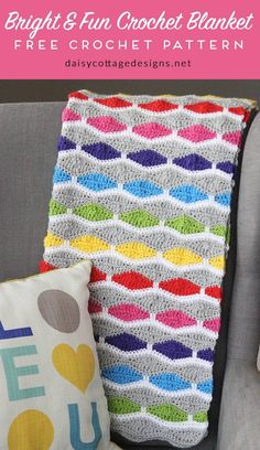 crochet blanket pattern | free crochet patterns | crochet afghan pattern | modern crochet pattern | Use this free crochet pattern from Daisy Cottage Designs to create this bright and fun afghan. Whether you're making a baby blanket for a friend or you just want a something to drape over your favorite chair, you'll love this crochet pattern. Instructions given to make this blanket in any size.