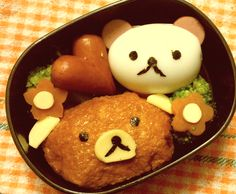 Rilakuma bento...my lazy menu of rice,boiled egg and sausage..can not get any lazier than this!