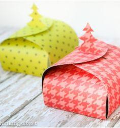 Christmas tree gift boxes (with printable template) // Karácsonyi ajándékdobozok (nyomtatható mintaívvel) // Mindy - craft tutorial collection