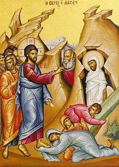The Raising of Lazarus by Jesus Christ the Saturday before entering Jerusalem (Palm Sunday)