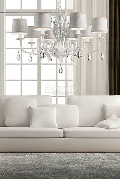 White Acanthus Leaf Damask Chandelier at Juliettes Interiors. White Chandelier, Chandelier Lighting, White Lamps, Wall Lights, Ceiling Lights, Acanthus, Timeless Elegance, Lampshades, Damask