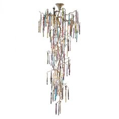 21 Light Chandleier In Silvered Bronze With Multi Colored Glass Accents | Williams Lighting Galleries