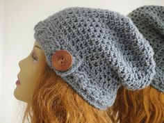 Sydney Slouch Hat Crochet Pattern, Cable Brim Slouchy Beanie , Pdf Pattern incuding sizes Baby to Woman