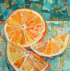 JUICY FRUIT Original Paper Collage Orange Painting 6 X on Gallery wrapped canvas by PatriciaHendersonArt on Etsy. Oranges and paper art Paper Collage Art, Collage Art Mixed Media, Collage Artwork, Paper Artwork, Painting Collage, Encaustic Painting, Orange Painting, Fruit Painting, Paintings Of Fruit