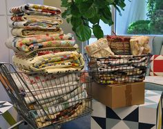 Oh my a shopping cart full of ModaRosie quilts for a Retreat.  @modafabrics