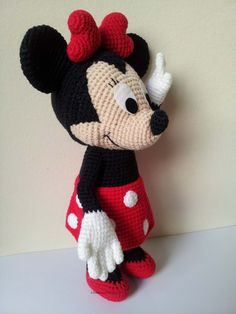 "Minnie Mouse 9"" - Handmade crochet doll birthday gift, Baby shower toy"