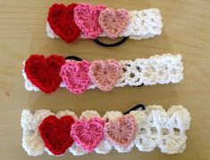 Good photo crochet tutorial for headbands with hair ties (elastic). Add hearts for a little more love for Valentine's Day.