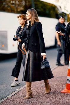 Olivia Palermo wears a black jacket and a black dress, outside. Olivia Palermo wears a blac. Estilo Olivia Palermo, Olivia Palermo Style, Fashion Mode, Look Fashion, Womens Fashion, Paris Fashion, Classic Fashion, Lolita Fashion, Fashion Beauty